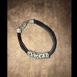 Jewelry - Black Wire Bracelet with Silver Swirly Hardware